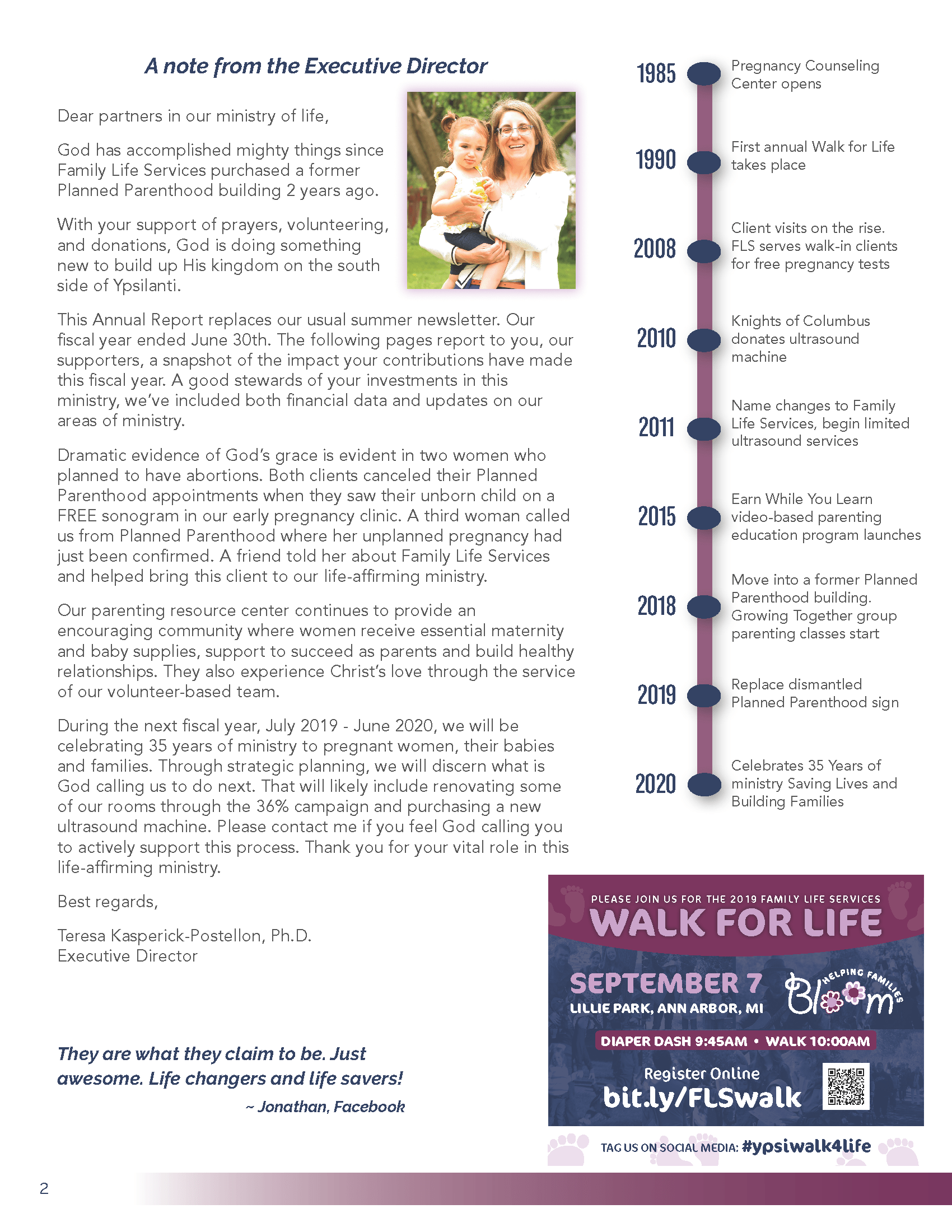 Image of 2019 Annual Report Page 2, Executive Director's report, Family Life Services Timeline, Save the Date for Walk for Life September 7, 2019, 10:00 am at Lillie Park, Platt Road just south of Ellsworth, Pittsfield Township, Michigan.