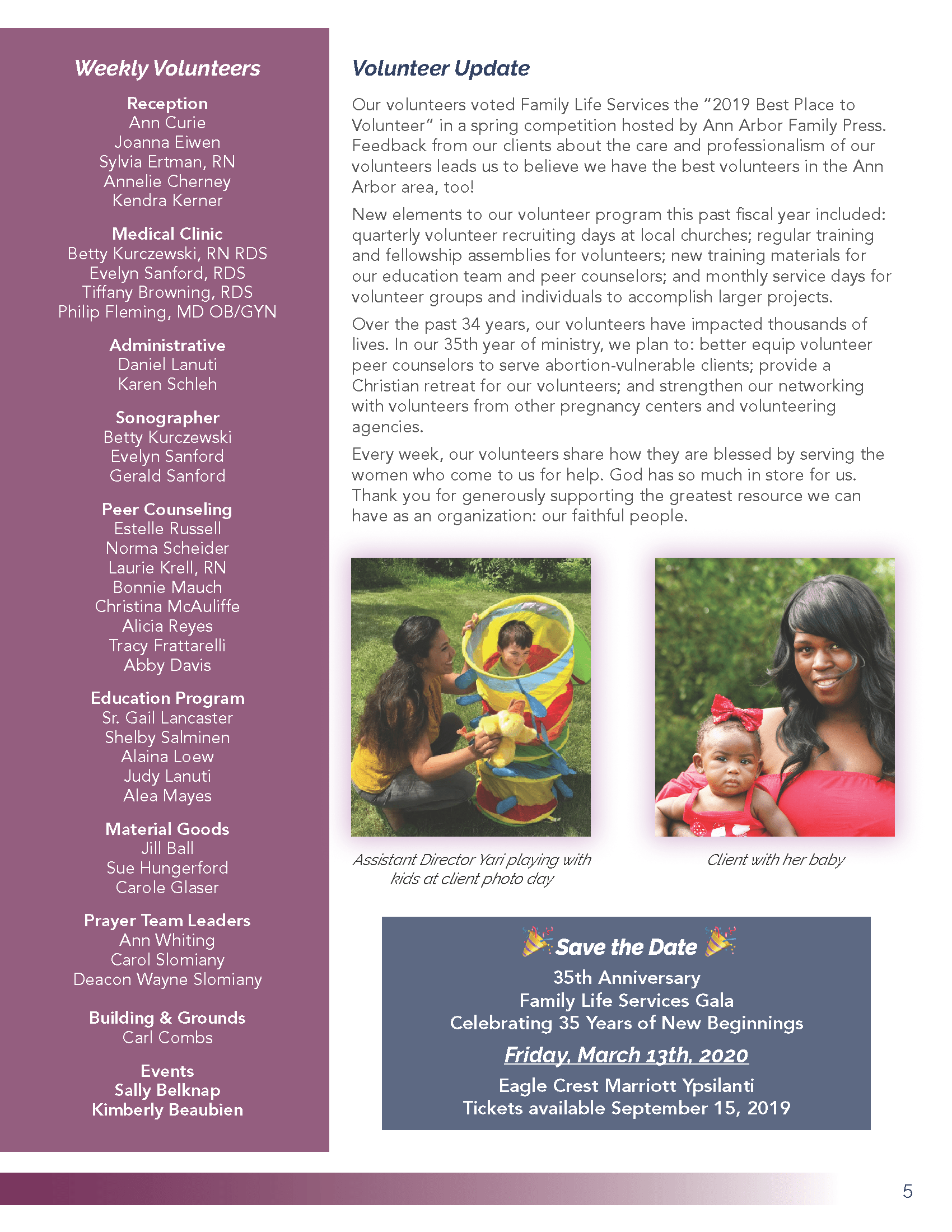 Image of 2019 Annual Report Page 5 with volunteer update, list of regular volunteers, and save the date information for 2020 gala on March 20 at Eagle Crest Marriott in Ypsilanti