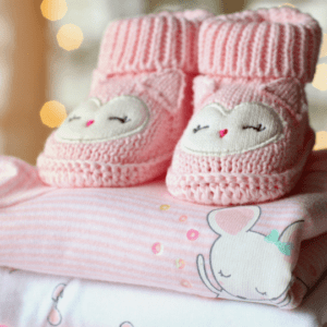 image of booties and blanket